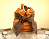 Mini Agatha /////in Cognac Brown Leather with a Chocolate Brown Lambskin Bow