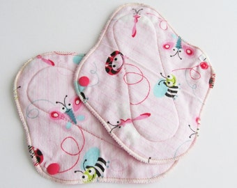 Cloth Mama Pads Pantyliners 8 inch - Set of 2 Pink with Bugs Flannel FREE Shipping