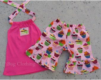 Custom Boutique Pink Cupcake Birthday Short Halter Top 3m 6m 9m  12m 18m 2t 3t 4t 5t 6 7 8 9 10 Girls