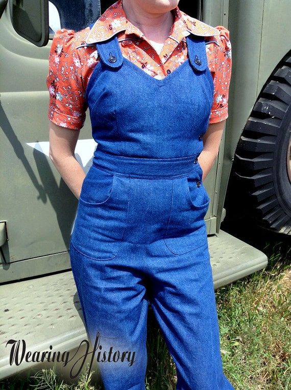 Rosie the Riveter Costume & Outfit Ideas E-Pattern- Size C- WWII Homefront- 1940s Overalls Playsuit & Trousers- Sewing Pattern $12.00 AT vintagedancer.com