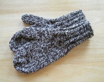 MITTENS HAND KNIT Adult Wool Dark Toasted Almond
