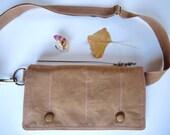 Waxed Canvas Minimalist Mini Messenger bag The Hipshack a designer belt bag cross body smartphone gadget organization in Spice Oak Brown