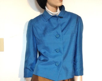 Vintage 50s Silk Shantung Jacket Blue Size 4
