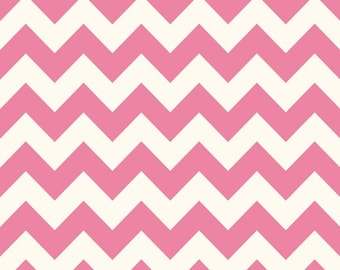 Medium Chevron Hot Pink and Cream Riley Blake Cotton Fabric by the Yard