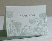 Thank You Notes, Sage Wildflowers, Queen Anne's Lace, Letterpress