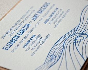 Modern Ocean Wedding Invitation, Cape Cod, East Coast, Ocean, Seaside