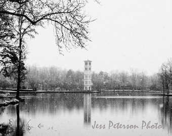 Furman University Photography, Bell Tower photos, Greenville SC Winter Dreamy Snow Wall Art Black & White Home Decor, 8x12 Fine Art Print