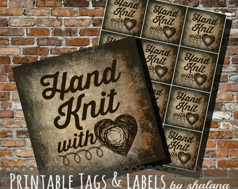 Printable PDF Tags - Vintage Hand Knit with Love Labels