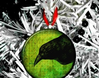 Green Crow Raven Black Bird  Christmas Tree Ornament