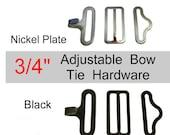 Sale - 50 Sets - Adjustable BOW TIE Metal Hardware Set - Black Metal or Nickel Plate - 3/4 inch - Raised Center Bar