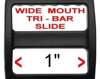 "10 PIECES - 1"" - Strap Adjuster, Heavy Duty Polyacetal Plastic, 3-Bar Slide, Tri Bar, WIDE MOUTH - Black or White"