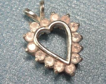 Genuine Rose Quartz Heart Silver Pendant - Valentine's Gift
