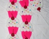 Cupcakes Scarf  Pink Neon White Frosting Sprinkles 3D Cherry teen women scarf Ships Now