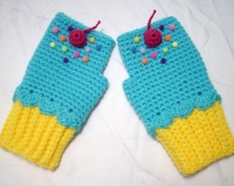 Cupcake Mitten Lemon Yellow Turquoise Blue cupcake Pink Cherry Wristers Wrist Warmer Crochet Fingerless Texting Gloves SHIPS NOW