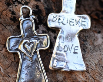 Believe in Love Cross Sterling Silver Pendant, PS269