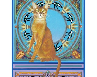 Red Abyssinian cat art print from my original painting