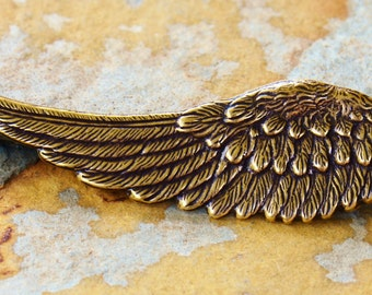 1 Antique Gold Left Angel Wing 15mm x 46mm -  Trinity Brass Co.