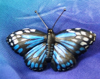 Handmade Wood Carving Brooch, Pin of a Mexican Bluewing Butterfly