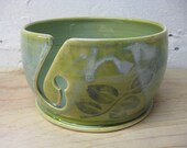 Large Ceramic Yarn Bowl Handmade Light Green Yarn Holder