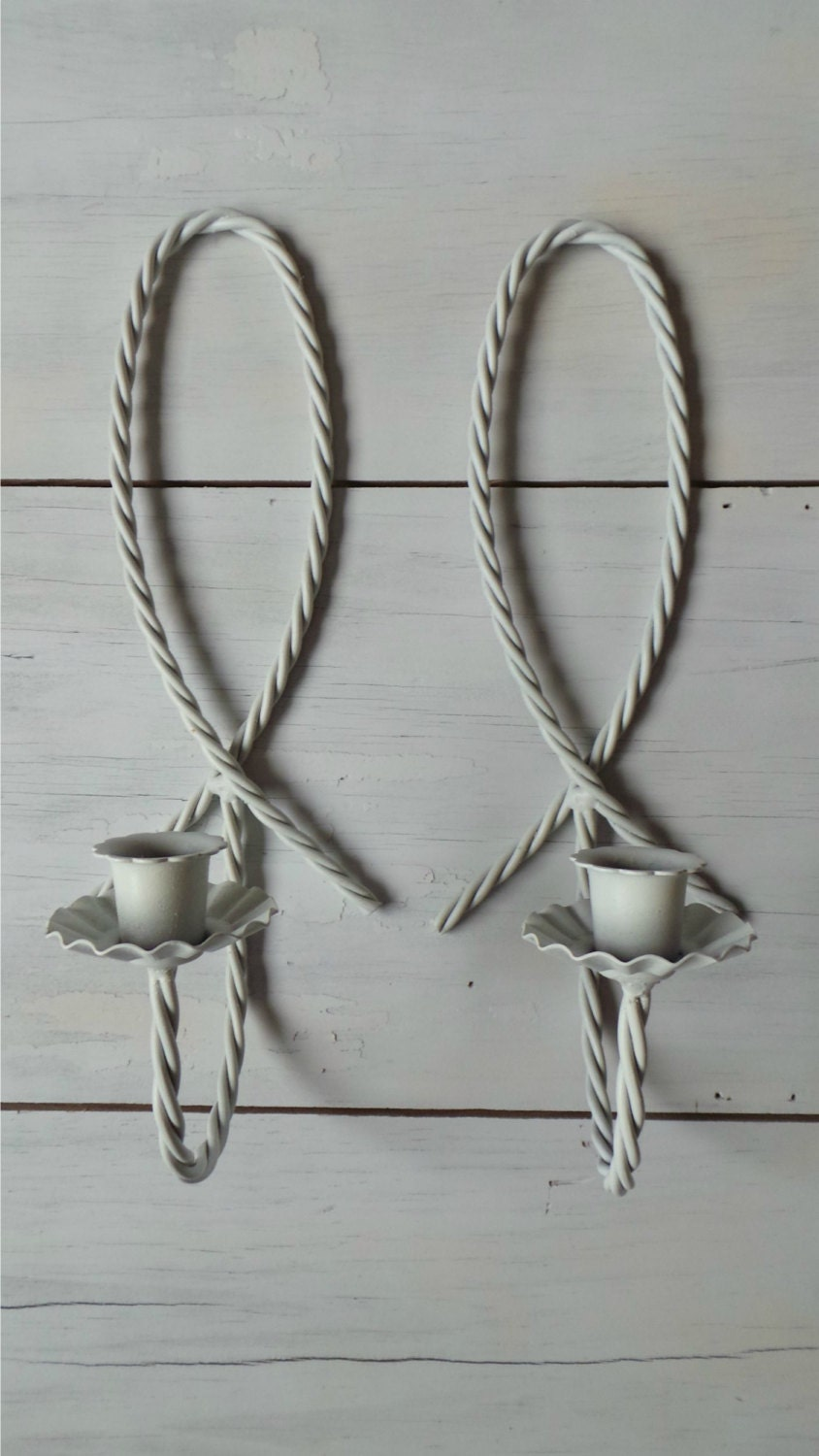 Vintage wire wall candle holder white metal shabby by lazydazefarm