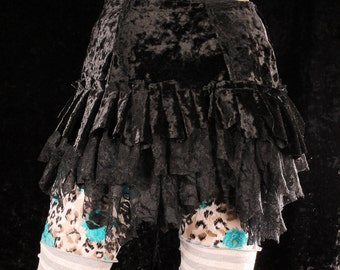Gypsy Wrap Skirt, black velvet hip belt, shimmy skirt, crushed velvet ruffle bustle, Tribal Belly Dance, tattered, noir, boho layer skirt