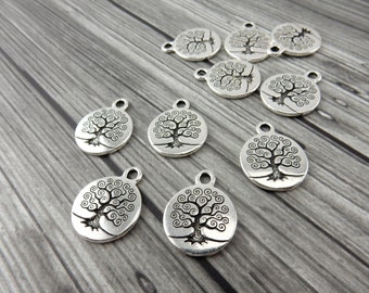 TREE of LIFE Charms, Antique Silver, Tierracast, Yoga Charms, Meditation Charm Drops, Tierra Cast