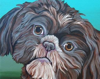 Shih Tzu 10 x 10 Original Canvas Painting Pet Dog Art-Carla Smale
