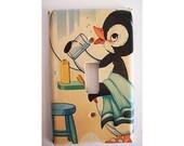 retro penguin switch plate vintage 1950's rockabilly decor bathroom kitchen kitsch