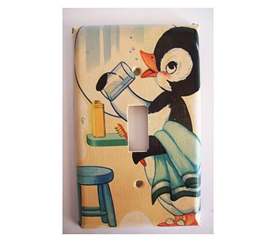 Rockabilly Kitchen Decor: Retro Penguin Switch Plate Vintage 1950's Rockabilly Decor