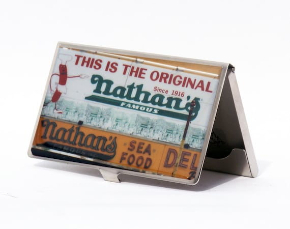 CARD CASE - Business Card Holder -  Nathan's Card Case - Coney Island Photo Card Case - Graduation Gift