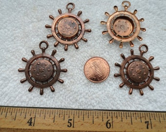 4 Vintage Brass Stampings, Ships Wheel with Stars