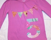 Girls 5th Birthday Bunting Shirt - 5t LONG sleeve number 5 and pennant banner in light purple and pastels