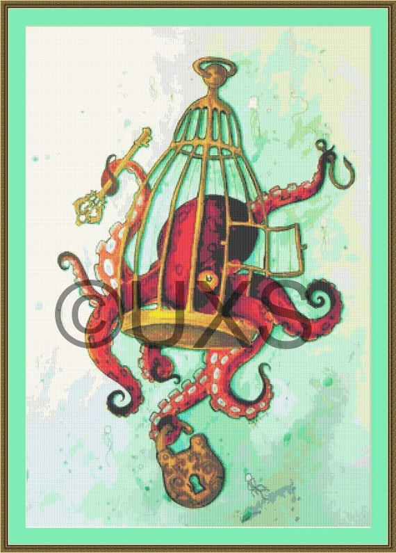 Octopus Knitting Chart : Octopus cross stitch pattern from gilded cage my spirit