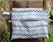 Clothespin Bag, Peg Bag in Blue Zigzag Print Cotton Fabric - ON SALE