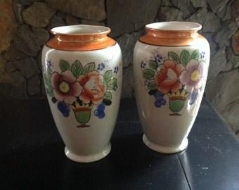 Pair of Matching Deco Flower Vases Japan Handpainted Lustre