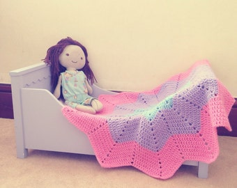 Star doll blanket, pink, lilac & blue
