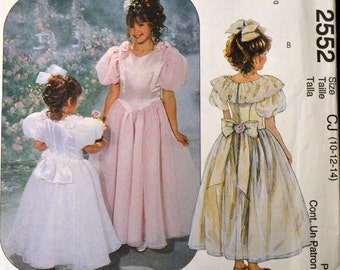 Sewing Pattern McCall's 2552 Girls' Special Occasion Dress Size 10-14 Uncut Complete