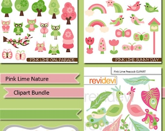 Commercial use digital clipart - Pink Lime Nature Clip art Bundle - birds, peacocks, owls, trees, butterflies, feathers - digital images