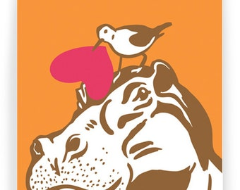 Hippo Love: Boxed Set of 8 Folding Cards