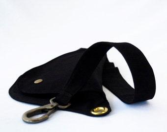 Black Cotton Belt Bag with Anti Bronze Hardware : Fanny Pack, Hip Bag