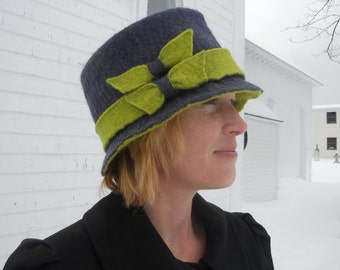 Ladies Felt Hat - Purple and Chartreuse Hand Felted Hat- Merino Wool - OOAK Wearable Art