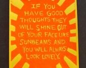 Typographic Linocut Block Print Sunbeams Typography