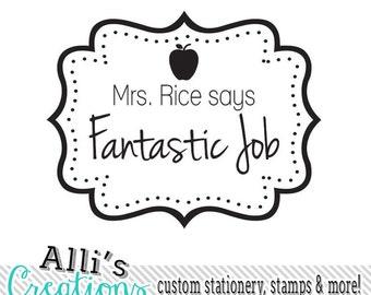 Teacher Stamp - Self inking Teacher Stamp - Fantastic Job - Great Teacher Gift