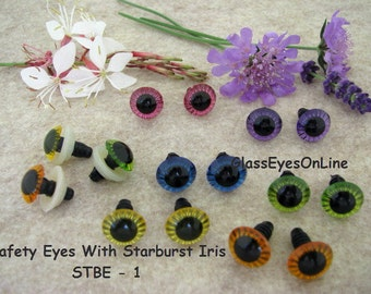 12 PAIR 11mm or 13mm StarBurst Plastic Safety Eyes with washers for  teddy bears, plush animals, Trolls, Dolls, Fantasy creatures ( STBE-1)