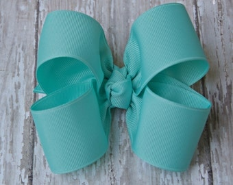 "Aqua Hairbow Aqua Large Hair Bow 4"" Alligator Clip Girls Hairbow Aqua Hair Bow Aqua Large Bow 4 Inch Aqua Hair Bow"