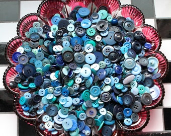 Buttons - Supplies - 100 Blue Buttons, Blue Vintage Button Lot, craft buttons, bulk buttons