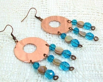Chandelier Earrings | Dangle Earrings | Copper Earrings | Drop Earrings | Drop Hoop Earrings | Handmade Earrings | Crystal Earrings