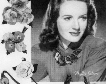 Vintage Felt Flowers, Make Your Own Felt Flowers, Craft, Sewing Pattern, 1940/1950 (PDF) Pattern, Bestway 686