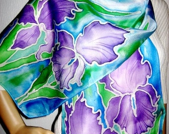 IRISES Hand Painted SILK SCARF Womens silk neck wrap Silk Batik scarf Blue iris