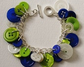 Button Bracelet Lime Green Blue and Pearly Cream